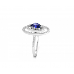 Blue Sapphire and Diamond Ring made in 14K White Gold (BS: 1.6CT )