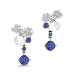 Tanzanite And Diamond  Earrings In 14k White Gold (TZ 2.2CT)