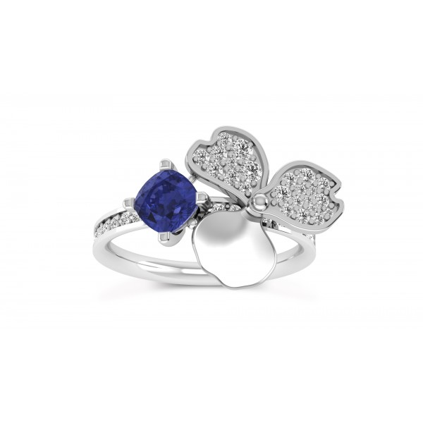 Tanzanite And Diamond Ring set in 14k White Gold ( 0.75cts TZ)