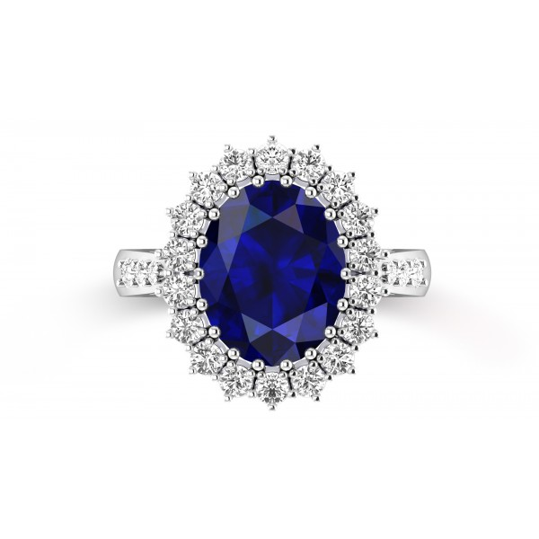 Blue Sapphire Halo Ring With a Cluster of Diamonds Inspired By Princess Diana (BS: 6CT)
