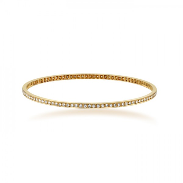 Rose Gold Bangle with round brilliant cut diamonds made in 18k Gold (2cts)