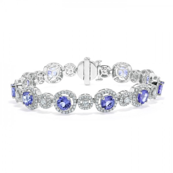 Tanzanite and Diamond Halo Bracelet made in 14k White Gold (4cts)