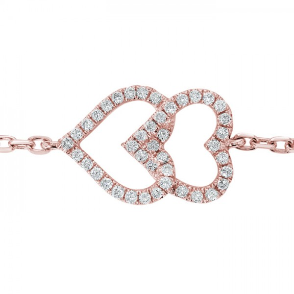 Double Heart Bracelet made in 18k Rose Gold (0.11cts)
