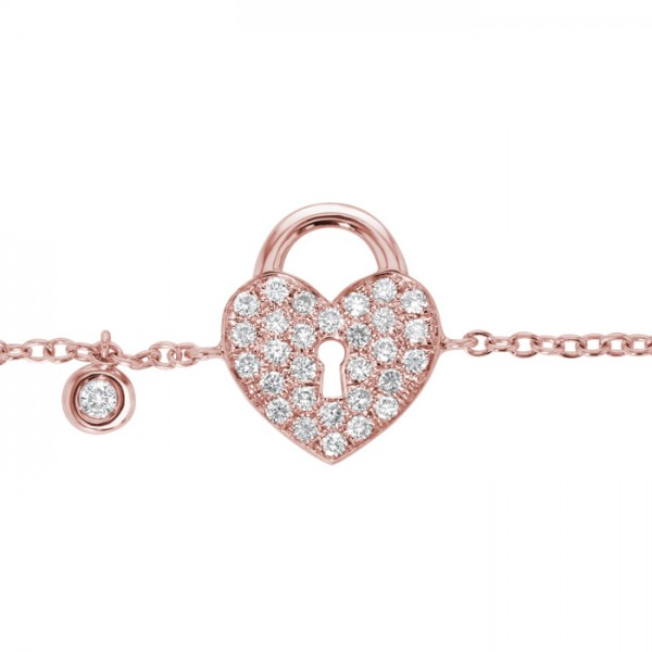 Heart Lock Diamond Bracelet made in 18k Rose Gold (0.21cts)