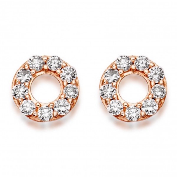 Open Circle Diamond Studs made in 14k Rose Gold (0.1 cts)