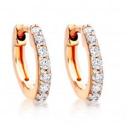 Diamond Hoop Earrings made in 14k Rose Gold (0.16cts)