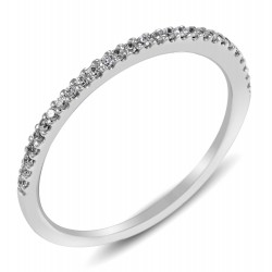 Diamond Ring in Micro setting with 28 Round Cut Diamonds in 14K White Gold (0.101 ct)