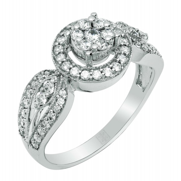 Diamond Ring in Invisible setting with Round Cut Diamonds Made in 14K White Gold (0.637 cts )