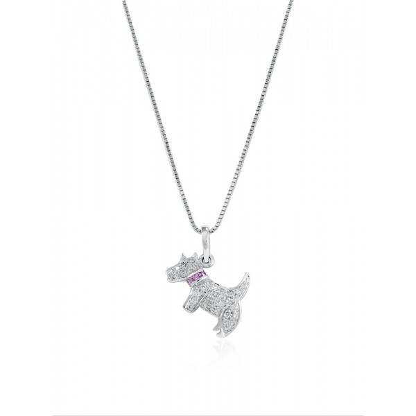 Doggy Pendant Made In 14K White Gold