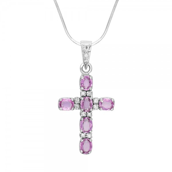 Pink Sapphire and Diamond Cross Pendant made in 18k White Gold (PS - 1.37cts)