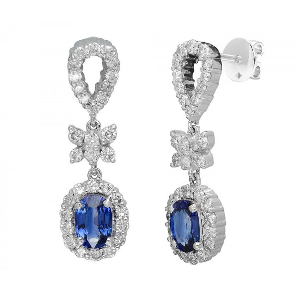 Blue Sapphire and Diamond Earring made in 14k White Gold (BS - 2.2 cts)