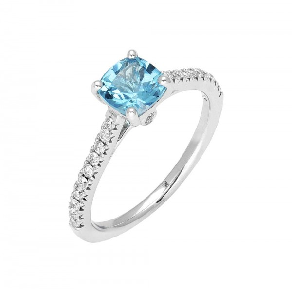 Blue Topaz and Diamond Ring made in 14k White Gold (BT - 1ct)