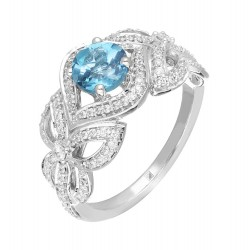 Blue Topaz and Diamond Ring made in 14k White Gold (BT - 1.65cts)