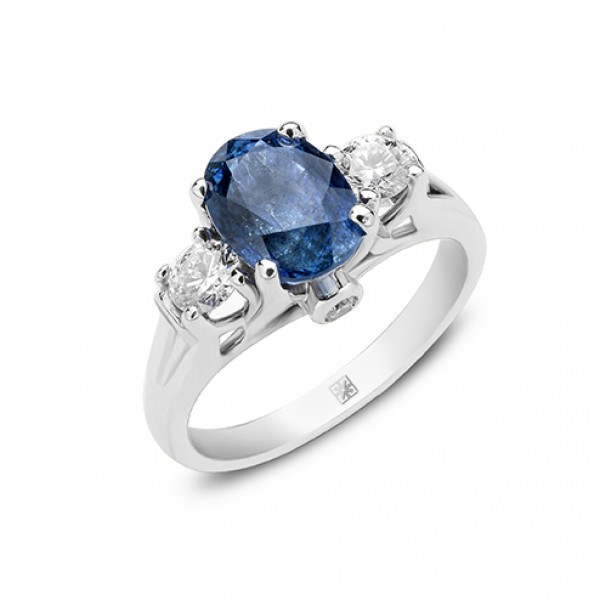 Blue Sapphire and Diamond Ring made in 14k White Gold (BS - 2cts )