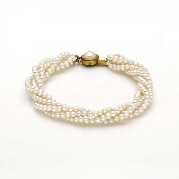 Four Row Rice Pearl Bracelet (White Pearls)