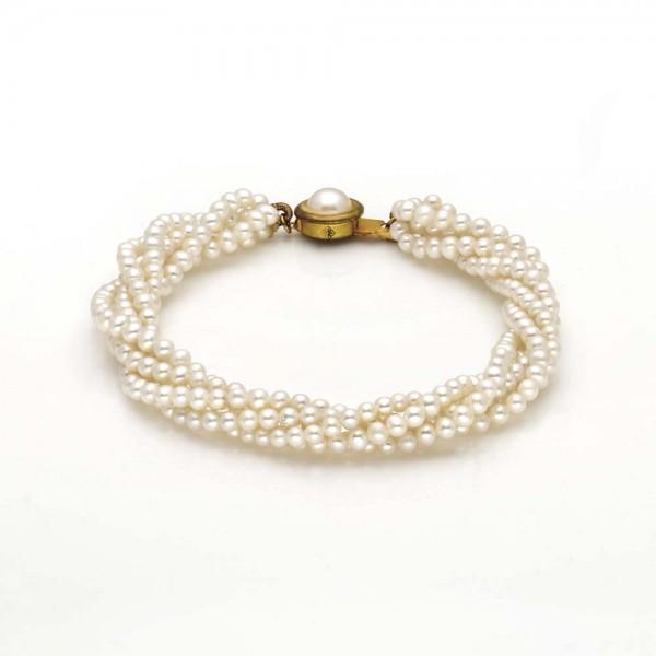 Four Row Rice Pearl Bracelet (White Pearls)