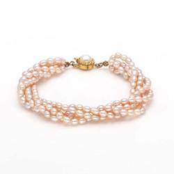 Four Row Rice Pearl Bracelet (Peach Pearls)