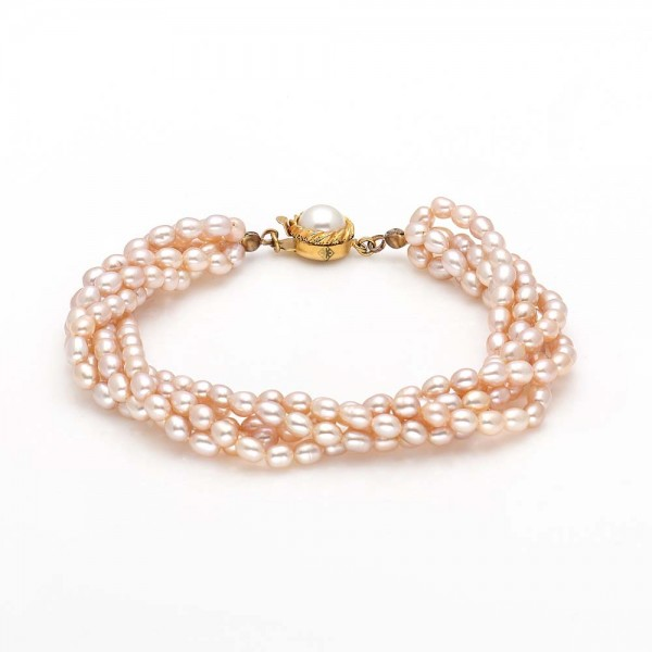 Four Row Rice Pearl Bracelet (Peach Pearls)