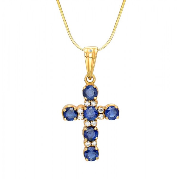 Blue Sapphire and Diamond Cross Pendant made in 18k Yellow Gold (BS - 1.6cts)