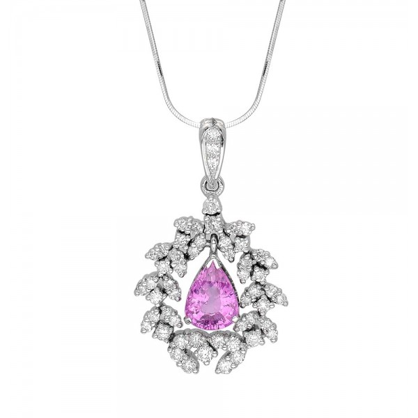 Pink Sapphire and Diamond Pendant made in 18k White Gold (PS - 2.2cts)