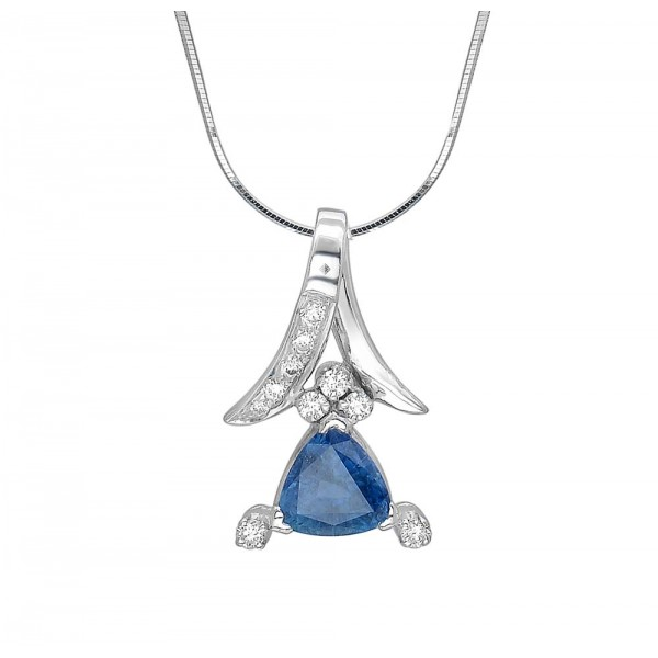 Blue Sapphire and Diamond Pendant made in 18k White Gold (BS - 1.27cts)