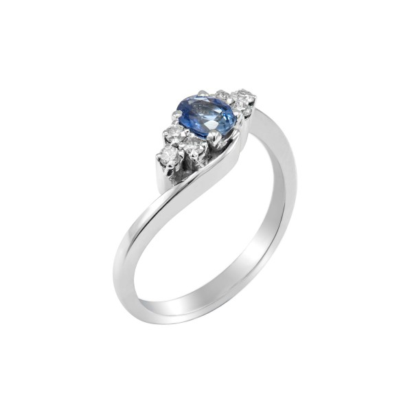 Blue Sapphire And Diamond Ring in 14k White Gold (BS - 0.4cts)