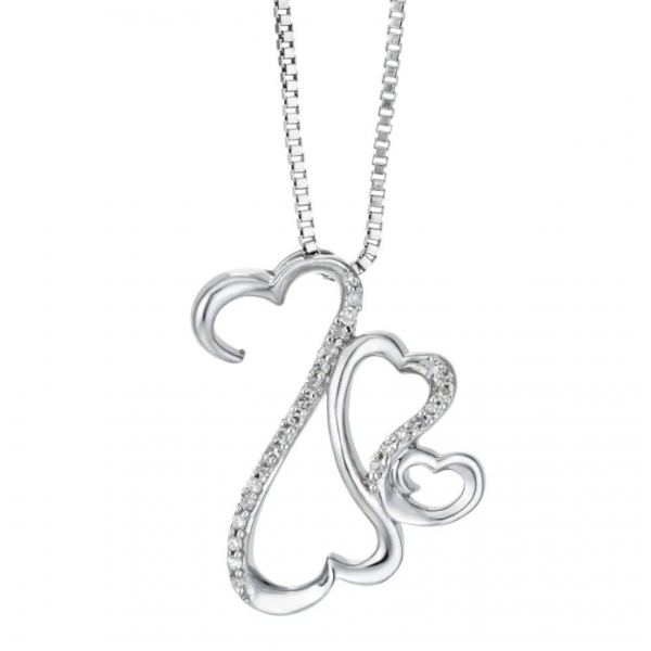 Diamond Heart Pendant made in 14k White Gold (0.25 cts)