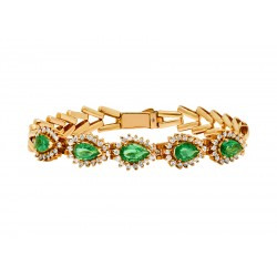 Vintage Emerald and Gold Bracelet made in 14K Yellow Gold (Em - 2.5cts)