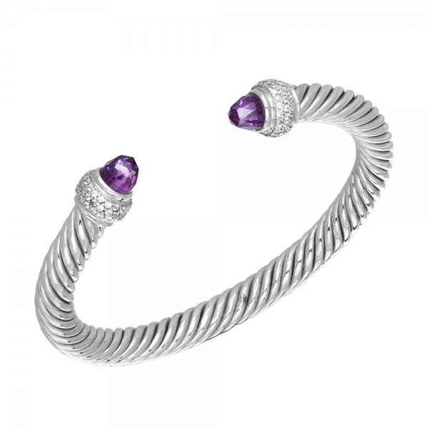 Twisted Bangle with Amethyst & Crystals made in Sterling Silver (Am-7mm)