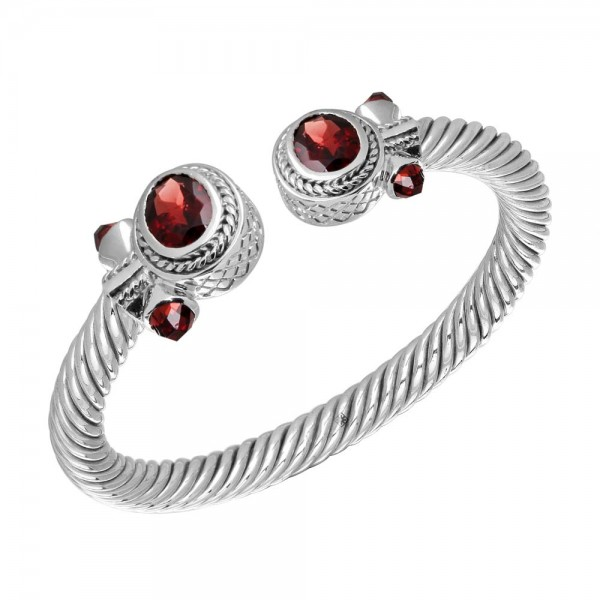 Twisted Bangle with Oval Garnets and Bullets on the side made in Sterling Silver (Garnet-9cts)