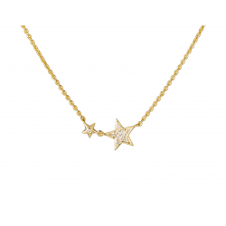 Star Necklace with chain made in 18k Yellow Gold (0.05 cts)