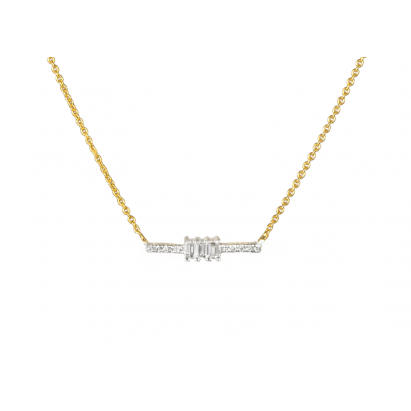 Diamond Line Necklace Made in 18k Yellow Gold (0.09cts)