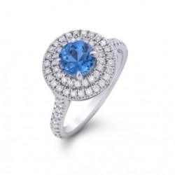 Blue Topaz and Diamond Double halo Ring made in White Gold (BT - 0.7cts)