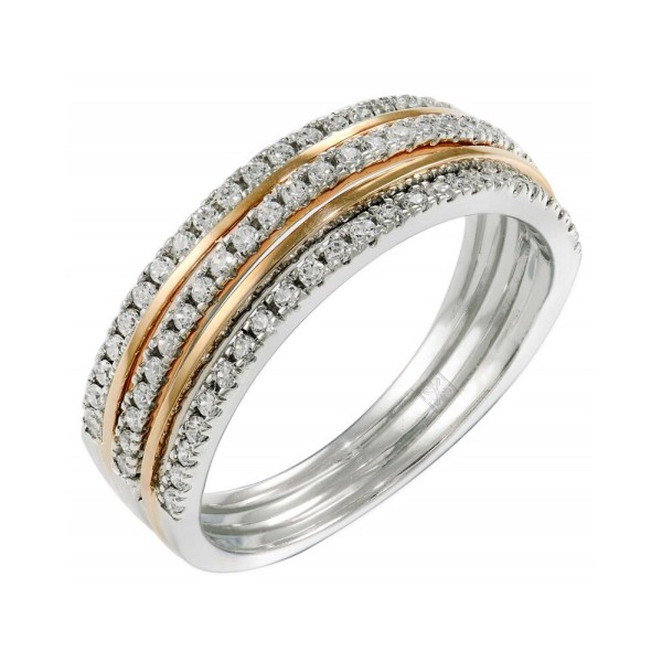 Diamond Micro Ring Set with 71 round Cut Diamonds in 14k White and Rose Gold (0.256 ct)