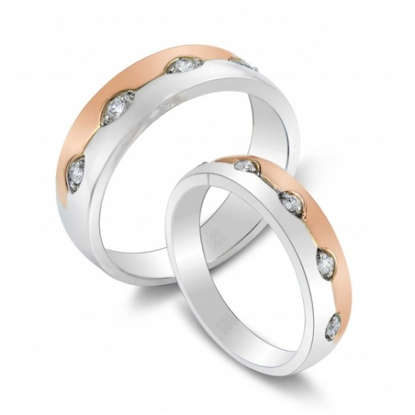 Couple Wedding Rings made in 14k White and Rose Gold