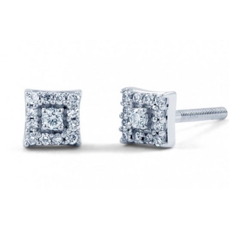 Square Diamond Earrings In 14k White Gold 1ct Custom Title By Chrisjewels