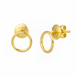 Solid Gold Circle Earrings made in 18k Yellow Gold