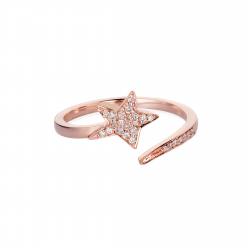 Star Diamond Ring made in 14k Rose Gold (0.1cts)