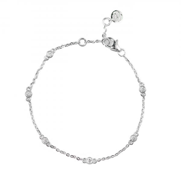 Pave Diamond Delicate Chain Bracelet made in 18k White Gold (0.16cts)