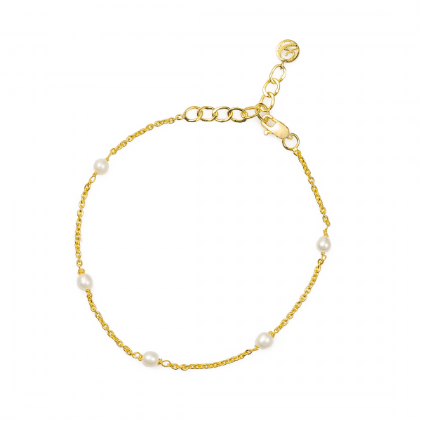 Freshwater Pearl Chain Bracelet made in 18k Yellow Gold
