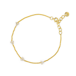 White Sapphire Lotus Chain Bracelet made in 18k Yellow Gold (0.3cts)