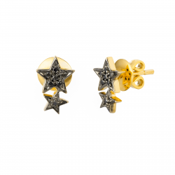 Two Star Black Diamond Earrings made in 18k Yellow Gold (0.06cts)
