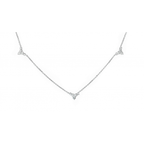 Diamond Lotus Necklace made in 18k White Gold (0.4cts)