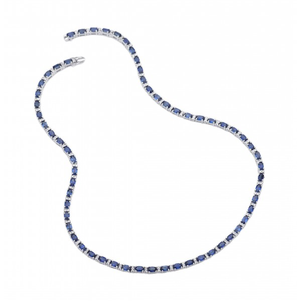 Classic Blue Sapphire Tennis Necklace made in 18k White Gold