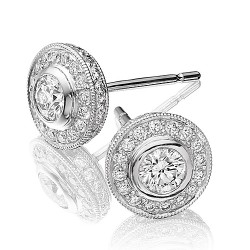 Round Solitaire Stud Earrings with a Cluster of Diamonds