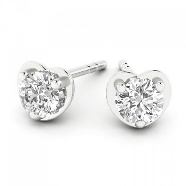 Heart Shaped Diamond stud Earrings made in 14k White Gold (0.3cts)
