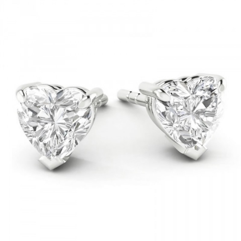 Heart Shaped Solitaire Stud Earrings Made In 14k White Gold 0 5cts