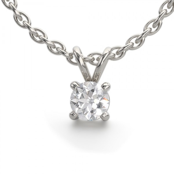 Solitaire Diamond Pendant made in 14K White Gold (0.2cts)
