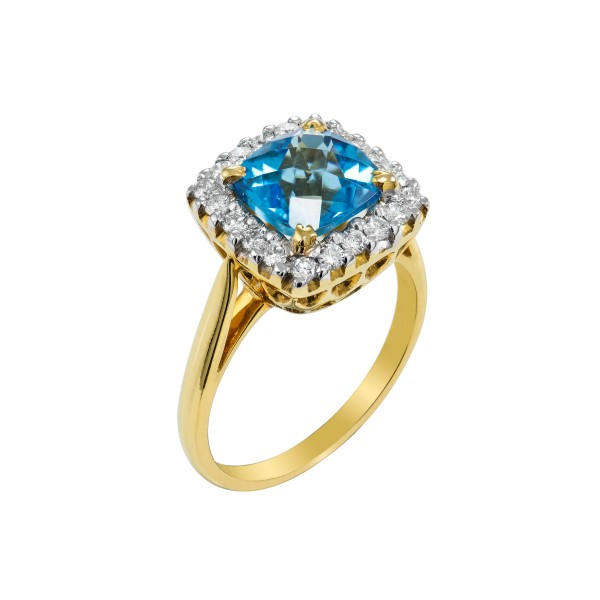 Checker Cut Swiss Blue Topaz and Diamond Ring made in 14k Yellow Gold (BT - 4cts)