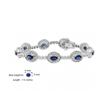 Blue Sapphire and Diamond Bracelet made in 14k White Gold (4.95 cts)